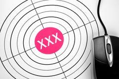 XXX doel en PCmuis Royalty-vrije Stock Afbeelding
