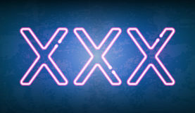 XXX glowing neon light street sign. Vector illustration of XXX glowing neon light street sign on dark textured background Stock Photos