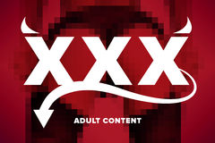 XXX logo satisfait d'adulte Photo stock