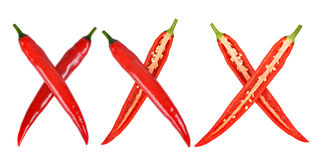 Xxx made from red hot chilli peppers Stock Images