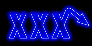 A XXX neon logo for men with erectile dysfunction Royalty Free Stock Photos