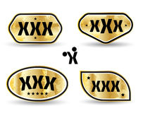 XXX tag banner set gold style. Royalty Free Stock Images