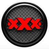 Xxx teken op witte achtergrond Stock Afbeeldingen