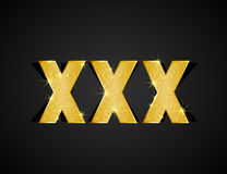 XXX text. Gold texture XXX text on black background Royalty Free Stock Image