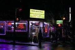 XXX vuxet lager, Granville Street, Vancouver, B C Royaltyfria Foton