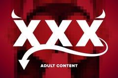 XXX zufriedenes Logo des Erwachsenen Stockfoto