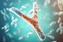 XY-chromosome, red in the center, concept of infection, mutation, disease, with focus effect. 3d rendering. XY-chromosome, red in the center, concept of Royalty Free Stock Photos