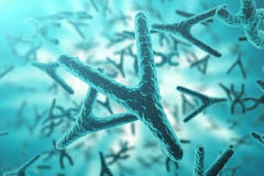 XY-chromosomes on background, medical symbol gene therapy or microbiology genetics research with with focus effect. 3d Stock Image