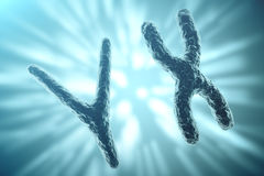 XY-chromosomes on background, medical symbol gene therapy or microbiology genetics research with with focus effect. 3d Royalty Free Stock Image