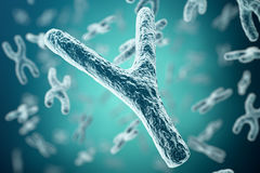 XY-chromosomes on background, medical symbol gene therapy or microbiology genetics research with with focus effect. 3d Stock Photo