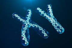 XY-Chromosomes with DNA carrying the genetic code. Genetics concept, medicine concept. Future, genetic mutations. Changing the genetic code at the biological vector illustration