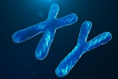 XY-Chromosomes with DNA carrying the genetic code. Genetics concept, medicine concept. Future, genetic mutations. Changing the genetic code at the biological royalty free illustration