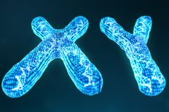 XY digital, artificial chromosomes with DNA carrying the genetic code. Genetics concept, artificial intelligence concept. Binary code in the human genome stock illustration