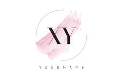 XY X Y Watercolor Letter Logo Design with Circular Brush Pattern stock photography