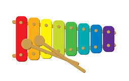 Xylophone. Children wooden xylophone with sticks Royalty Free Stock Photo