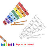 Xylophone cartoon. Page to be colored. Stock Photography