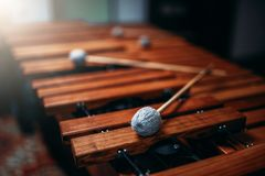 Xylophone closeup, wooden percussion instrument. Xylophone with sticks closeup, nobody, wooden percussion instrument, vibraphone Stock Image