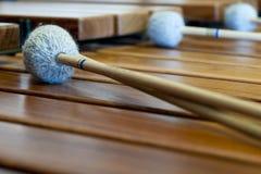 Xylophone de madeira com varas Fotografia de Stock