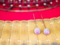 Xylophone en bois de soprano, l'instrument de musique thaïlandais Photo stock