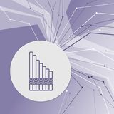 Xylophone icon on purple abstract modern background. The lines in all directions. With room for your advertising. Stock Image