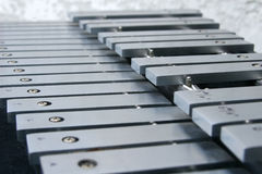 Xylophone keys. A side view of a xylophone Royalty Free Stock Photos