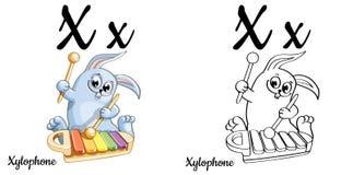 xylophone Lettera X, pagina di coloritura di alfabeto di vettore Illustrazione Vettoriale