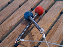 Xylophone with mallets. Closeup view of a Xylophone with mallets as a toy in playground Royalty Free Stock Images