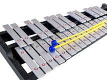 Xylophone with mallets on isolated white background Stock Photos