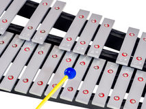 Xylophone with mallets on isolated white background. Selective focus Royalty Free Stock Photography