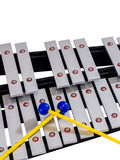 Xylophone with mallets on isolated white background. Selective focus Royalty Free Stock Image