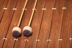 The xylophone is a musical instrument in the percussion family that consists of wooden bars.  stock photography