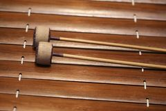 The xylophone is a musical instrument in the percussion family that consists of wooden bars.  stock image