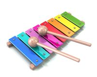 Xylophone with rainbow colored keys 3d illustration Stock Photography