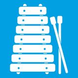 Xylophone and sticks icon white. Isolated on blue background vector illustration Stock Photography