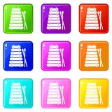 Xylophone and sticks icons 9 set. Xylophone and sticks icons of 9 color set isolated vector illustration Stock Photography