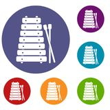 Xylophone and sticks icons set. In flat circle red, blue and green color for web Royalty Free Stock Photography