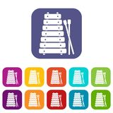 Xylophone and sticks icons set flat. Xylophone and sticks icons set vector illustration in flat style In colors red, blue, green and other Stock Photography