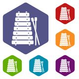 Xylophone and sticks icons set hexagon. Isolated vector illustration Stock Photo