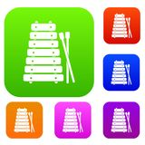Xylophone and sticks set color collection. Xylophone and sticks set icon color in flat style isolated on white. Collection sings vector illustration Royalty Free Stock Photography