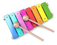 Xylophone with two drum sticks 3d illustration. On white background Stock Photo