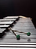 Xylophone with two mallets. Dark background. Close-up Royalty Free Stock Photography