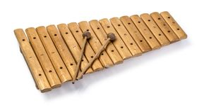 The xylophone and two mallets. Isolated on the white background Stock Image