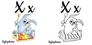 Xylophone. Vector alphabet letter X, coloring page. Vector alphabet letter X for children education with funny cartoon cat. . Learn to read. Coloring page Royalty Free Stock Photo