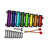 Xylophone. Vector illustration : Xylophone on a white background Stock Images