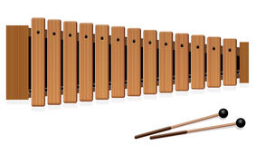 Xylophone Wooden Musical Instrument. Xylophone - musical instrument with thirteen wooden bars and two percussion mallets - top view - isolated vector Royalty Free Stock Photos