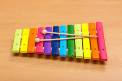 Xylophone. On a  wooden table Stock Photo