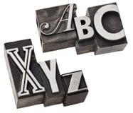 Xyz do anx do ABC - letras do alfabeto do primeiro tand últimas Imagem de Stock