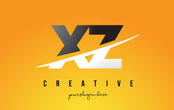 XZ X Z Letter Modern Logo Design with Yellow Background and Swoo Royalty Free Stock Photo