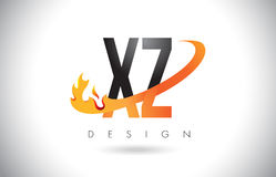 XZ X Z Letter Logo with Fire Flames Design and Orange Swoosh. XZ X Z Letter Logo Design with Fire Flames and Orange Swoosh Vector Illustration Stock Image