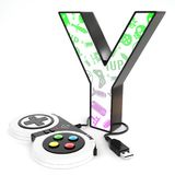 ` Y与电子游戏控制器的` 3d信件 库存照片